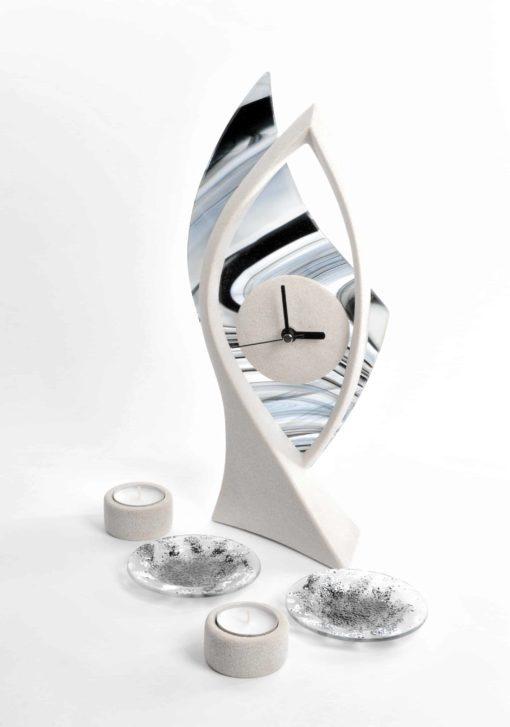 Tischuhr mit Teelichthalter Set