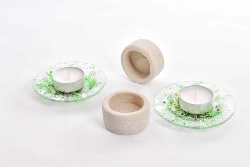 Teelicht-Set aus Glas und Stein